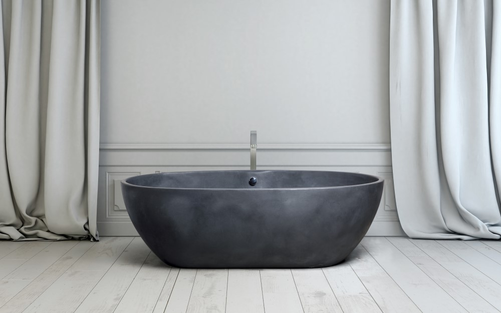 Contemporary freestanding bath tub in a bathroom
