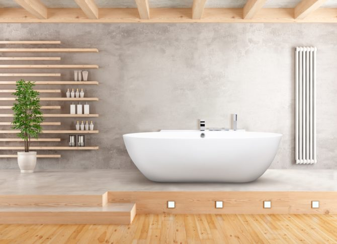 Minimalist bathroom with sunken bathtub