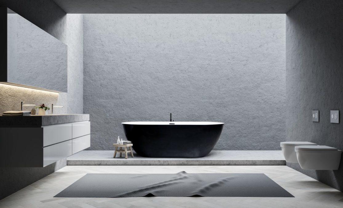 Gray bathroom interior