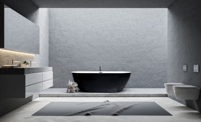 Gray bathroom interior