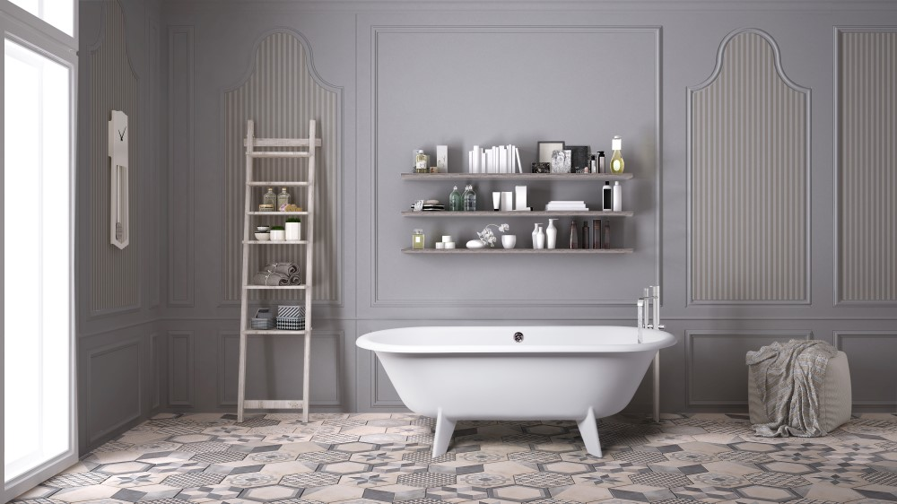 Scandinavian bathroom, classic white vintage interior design