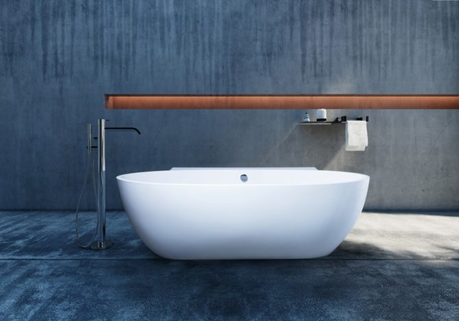 Polished concrete industrial bath and bathroom