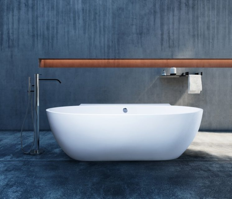 Polished concrete industrial bath and bathroom