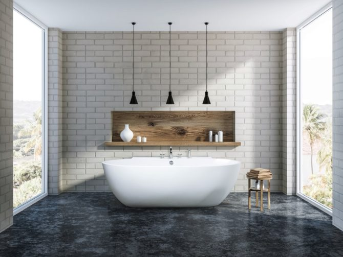 White brick bathroom interior, tub