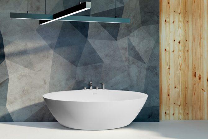 Concrete bathroom with sunlight